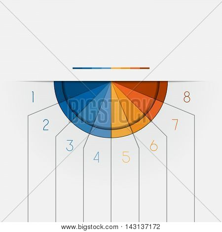 Color Semicircle downwards template for Infographic numbered on 8 positions