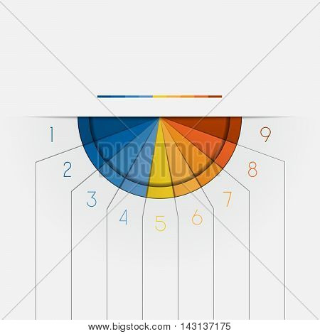 Color Semicircle downwards template for Infographic numbered on 9 positions