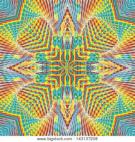 Kaleidoscopic bright rainbow pattern. The image is computer graphics created using various programs. It can be used in the design of your site design textile printing industry in a variety of design projects.