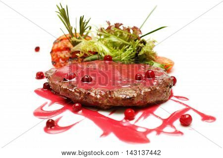 Gourmet meat restaurant steak and red sauce