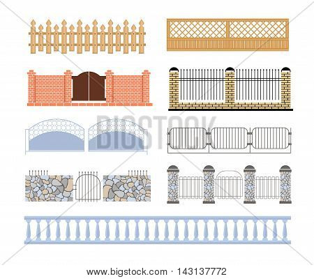 Fences Of Different Materialls Set Of Designs. Assortment Of Edging And Fencing Creative Ideas.