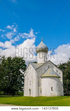 Architecture view of ancient church of Church of the Twelve Apostles on the Abyss in Veliky Novgorod Russia. Architecture landscape in summer sunny day