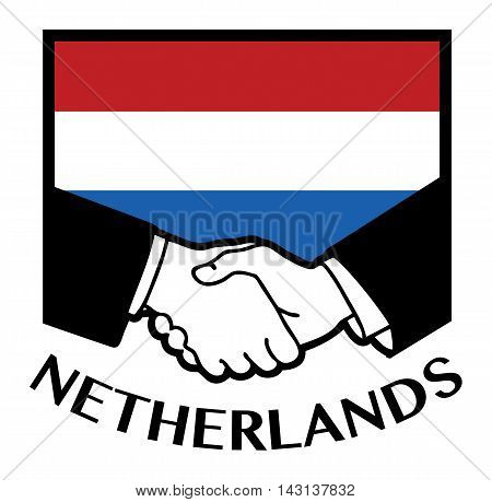 Netherlands flag and business handshake, vector illustration