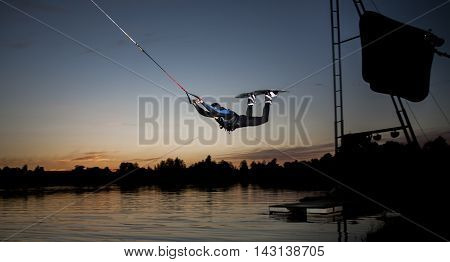 Beautiful night extreme sport in the  Rezekne city