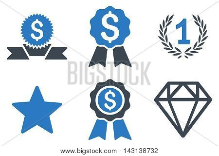 Award vector icons. Icon style is bicolor smooth blue flat symbols with rounded angles on a white background.