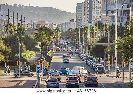 BARCELONA SPAIN - JULY 3 2016: Cars traffic on Barcelona street