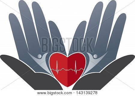 Illustration art of a heart care logo with isolated background