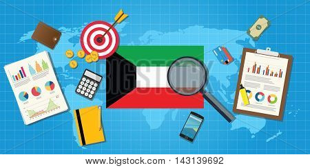 kuwait middle east economy economic condition country with graph chart and finance tools vector graphic illustration