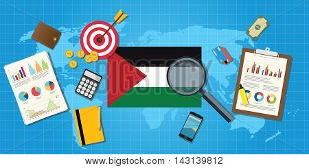 palestine economy economic condition country with graph chart and finance tools vector graphic illustration