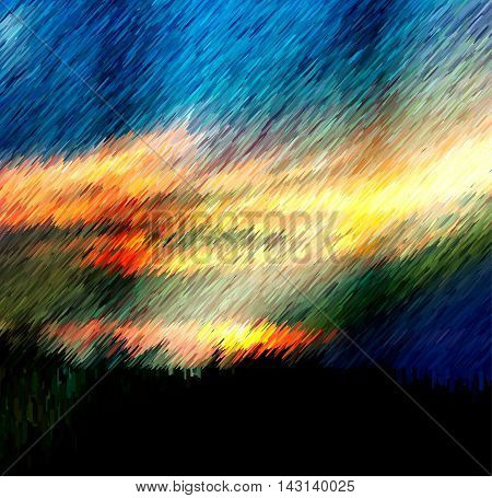 Dramatic sky with storm clouds and torrents of rain. Dark landscape with blue, red and yellow clouds and heavy rain