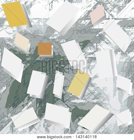 Abstract grunge background with blank notepads. Gray, white and green background with geometric shapes and paper notepads