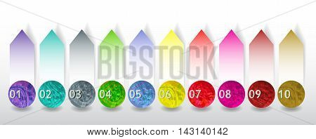 Set of colorful buttons and paper banners with numbers for webdesign and infographic. Ten buttons with watercolor pattern and blank notepads with arrows