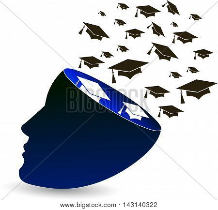 Illustration art of a freedom fly graduation with isolated background