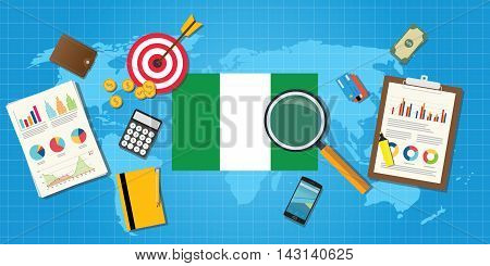 nigeria africa economy economic condition country with graph chart and finance tools vector graphic illustration