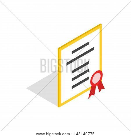 Diploma or certificate icon in isometric 3d style on a white background
