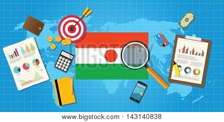 niger economy economic condition country with graph chart and finance tools vector graphic illustration