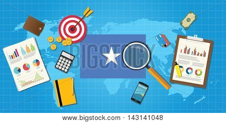 somalia africa economy economic condition country with graph chart and finance tools vector graphic illustration