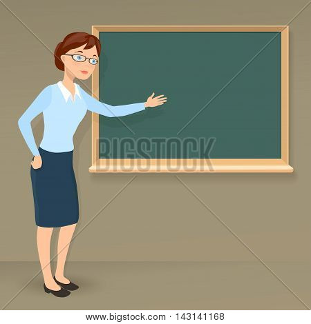 young female teacher showing on blank chalkboard. vector cartoon illustration on education or business theme