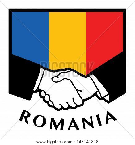 Romania flag and business handshake, vector illustration