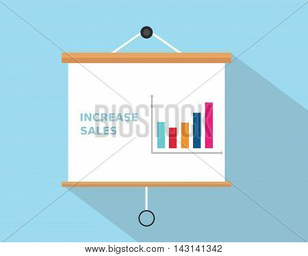 increase sales with graph increasing written on the presentation board