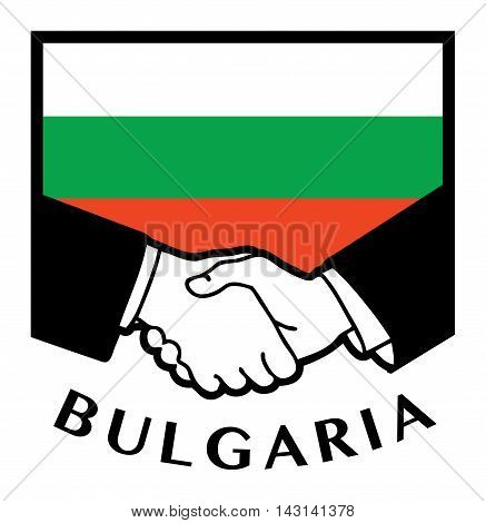 Bulgaria flag and business handshake, vector illustration