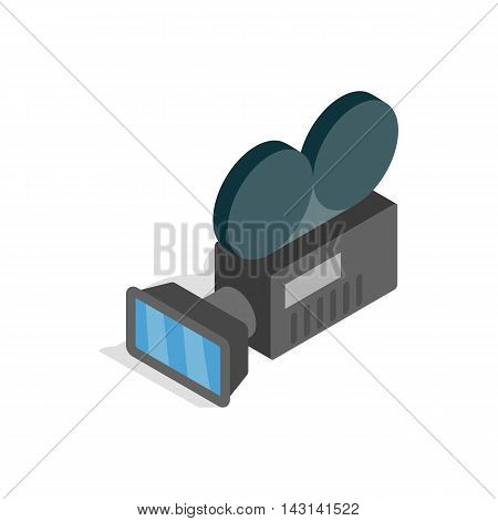 Retro cinema camera icon in isometric 3d style on a white background