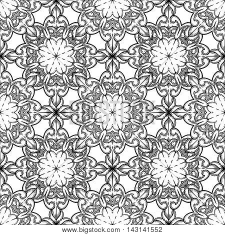 Seamless decorative pattern. Ornament with mosaic elements. Vintage floral styling to design cards, corporate identity, textiles. Kaleidoscope. Graphics. Adult coloring