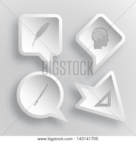 4 images: feather, human brain, ruling pen, triangle ruler. Education set. Paper stickers. Vector illustration icons.
