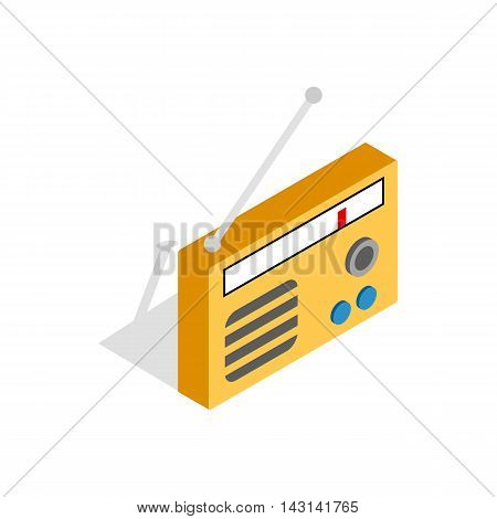 Orange retro radio receiver icon in isometric 3d style on a white background