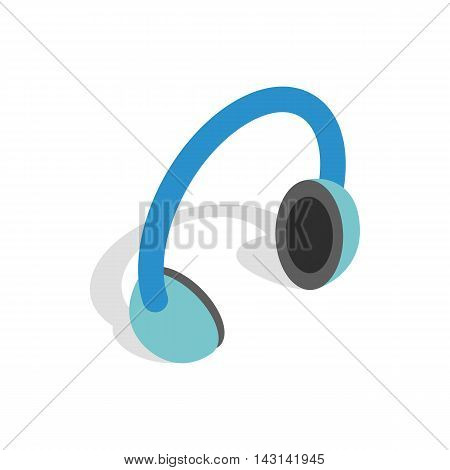 Headphones icon in isometric 3d style on a white background