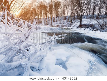 Winter Stream At Sunset