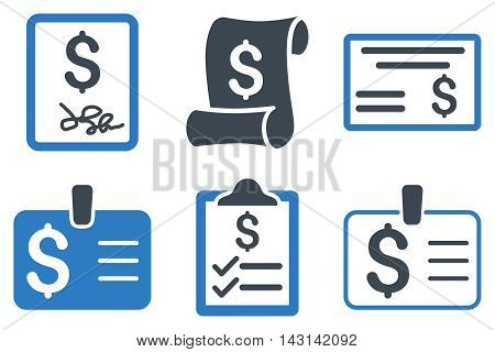 Payment Cheque vector icons. Icon style is bicolor smooth blue flat symbols with rounded angles on a white background.