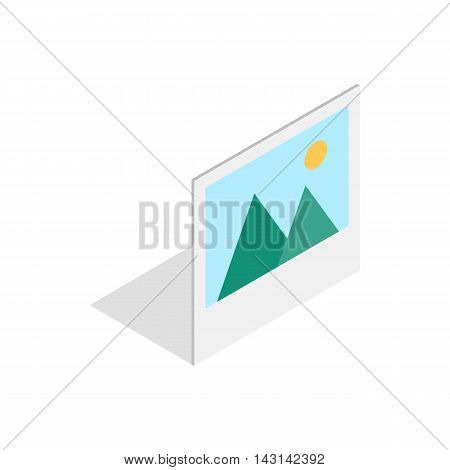 Picture with mountains and sun icon in isometric 3d style on a white background