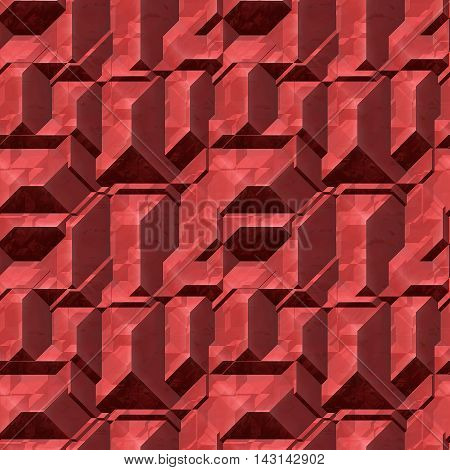 Abstract seamless red pattern of 3d blocks. Polyhedral geometric background of red blocks with light reflections