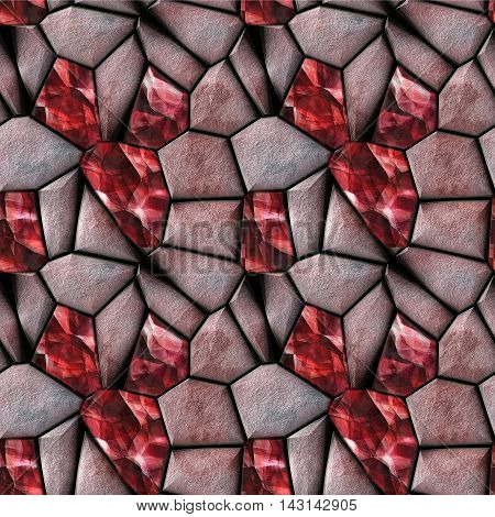 Abstract seamless 3d pattern of red stones and rubies. Background of polygonal sharp reddish stones