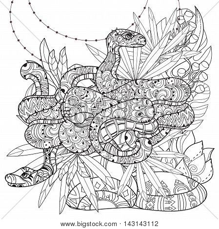 Hand drawn doodle outline anaconda decorated with ornaments.Vector zen art boho illustration.Floral ornament.Ready for adult anti stress coloring book.