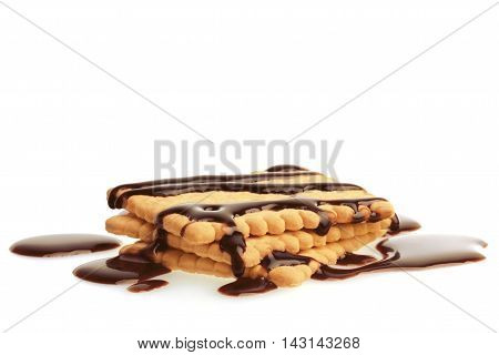 Biscuits with Chocolate.  Isolated On White Background.