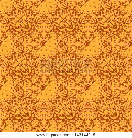 Seamless decorative pattern. Ornament with mosaic elements. Vintage floral styling to design cards, corporate identity, textiles. Kaleidoscope. Graphics.