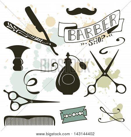 Vintage barber shop objects collection. Vector illustration