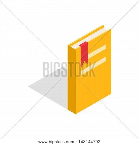 Closed yellow book with a bookmark icon in isometric 3d style on a white background