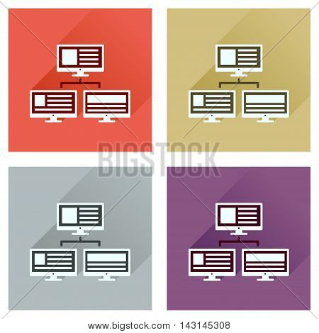 Concept of flat icons with long  shadow computer network