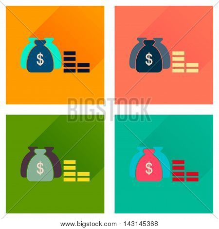 Concept of flat icons with long  shadow money bag