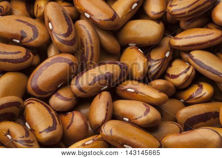 Dried raw Tigers eye beans full frame close up