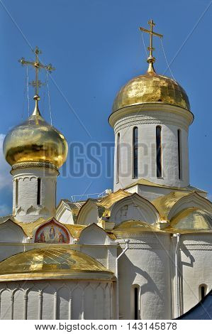 Sergiev Posad Russia - may 28 2016: The Golden dome over the Cathedral of the Trinity-Sergius Lavra. The Shrine of all Christians. The center of pilgrimage of the Christian world. Sergiyev Posad is included into the Golden ring of Russia.