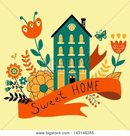 Home sweet home concept illustartion with house, ribbon and flowers.