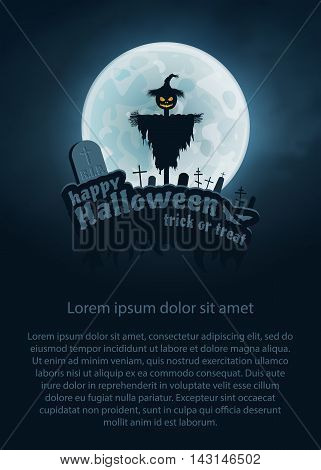 Happy Halloween Trick or Treat Vector Flyer. Moon, Text, Bat, Scarecrow, Monument.
