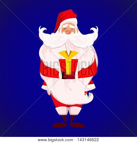 Merry Christmas Happy New Year. Santa Claus with long beard and cute moustache in red. Papa Noel present red gift with gold ribbon isolated over blue. Presents on Christmas day concept. vector