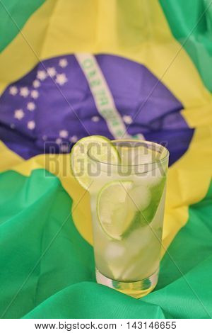 Fresh Lime Caipirinhas On Brazilian Flag