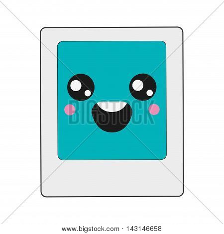 flat design kawaii instant photo icon vector illustration