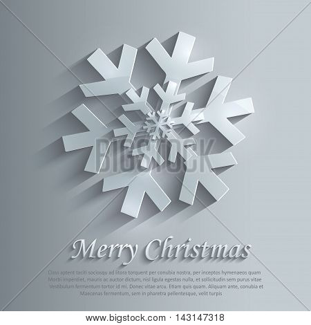 Christmas snowflake 3D blue vector template flake
